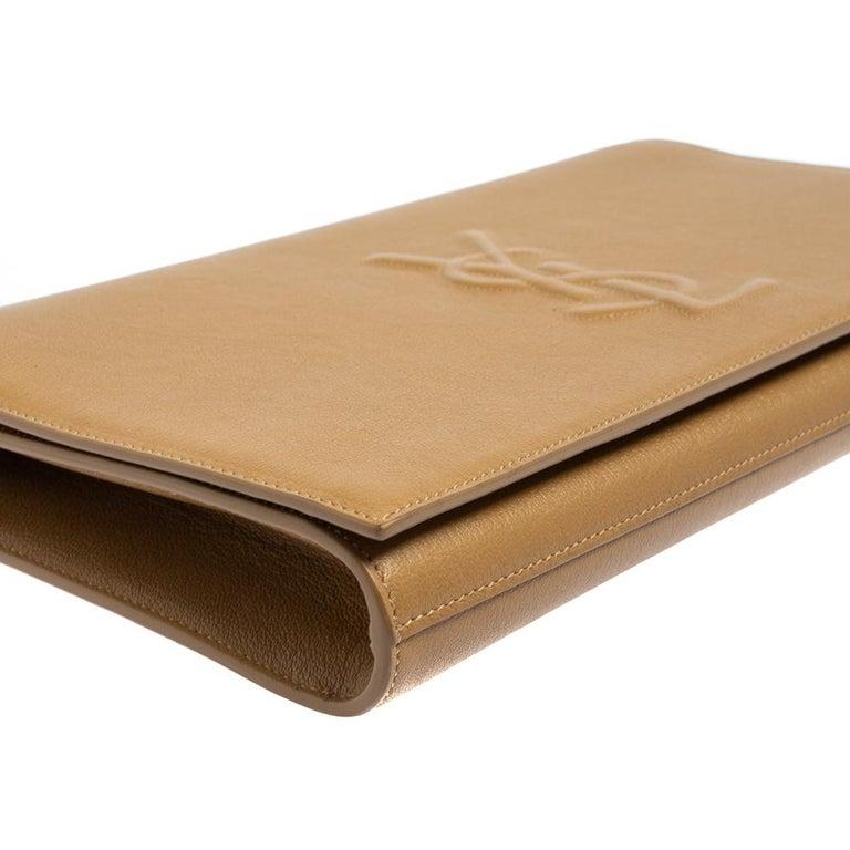 Yves Saint Laurent Beige Leather Belle De Jour Clutch For Sale 5