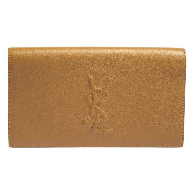 Yves Saint Laurent Beige Leather Belle De Jour Clutch For Sale