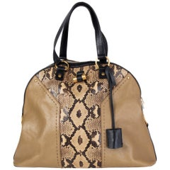 YVES SAINT LAURENT beige leather PYTHON MUSE LARGE Shoulder Bag
