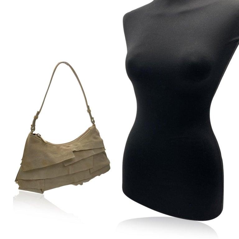 Black Yves Saint Laurent Beige Ruffled Suede Small St Tropez Bag For Sale