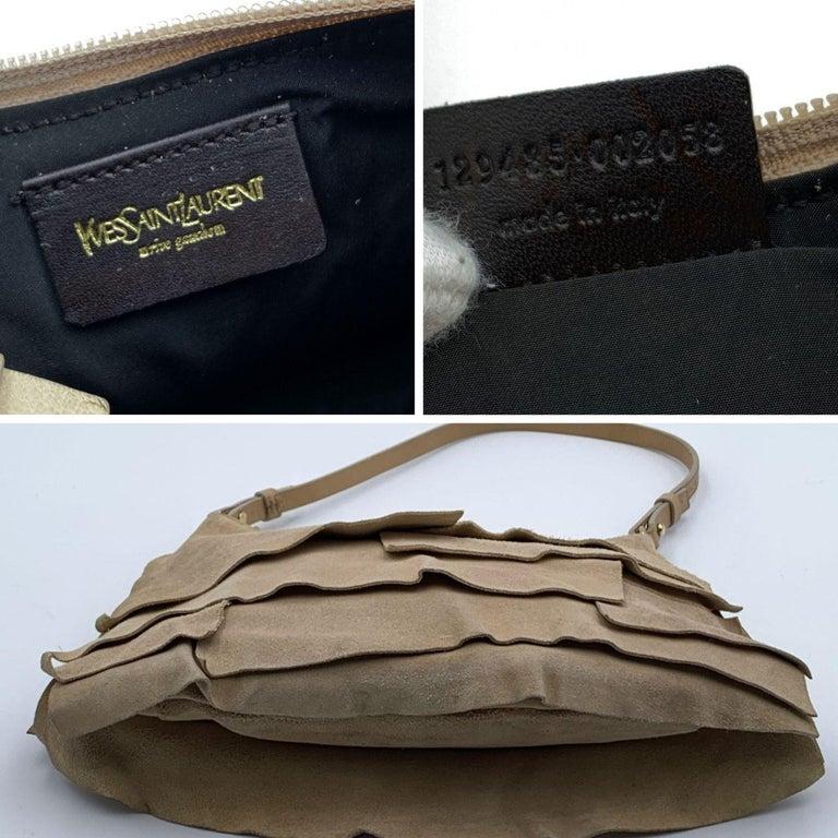 Women's Yves Saint Laurent Beige Ruffled Suede Small St Tropez Bag For Sale