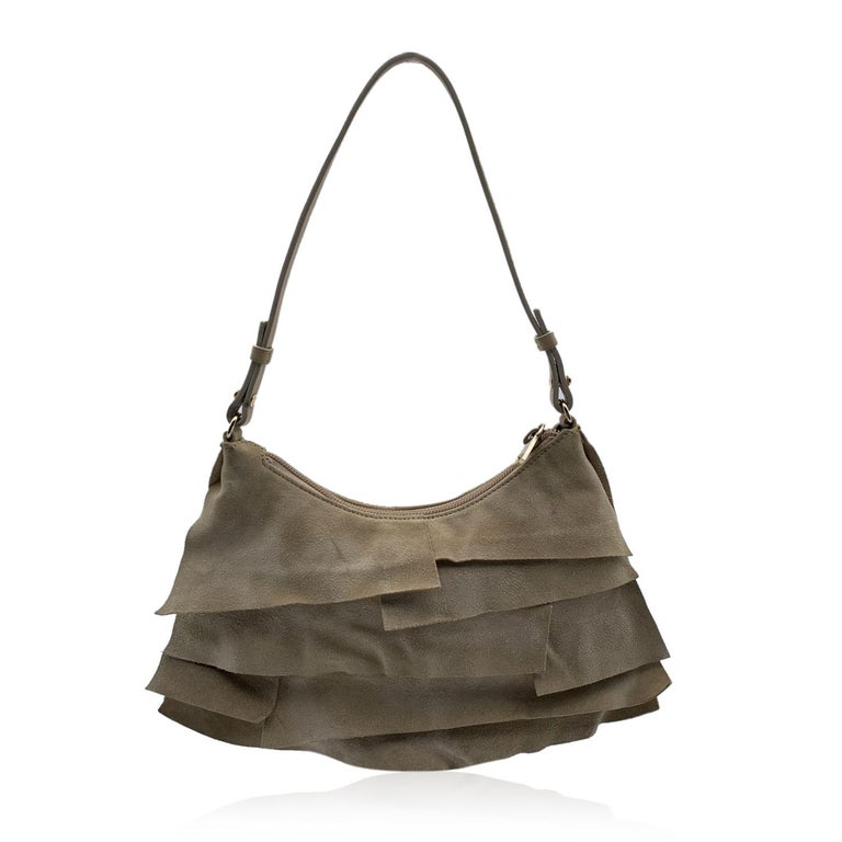 Yves Saint Laurent Beige Ruffled Suede Small St Tropez Bag For Sale 1