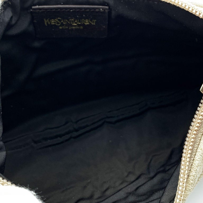 Yves Saint Laurent Beige Ruffled Suede Small St Tropez Bag For Sale 2