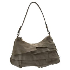 Yves Saint Laurent Beige Ruffled Suede Small St Tropez Bag