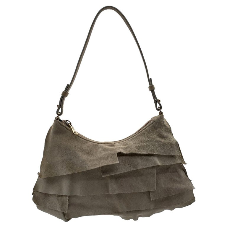 Yves Saint Laurent Beige Ruffled Suede Small St Tropez Bag For Sale