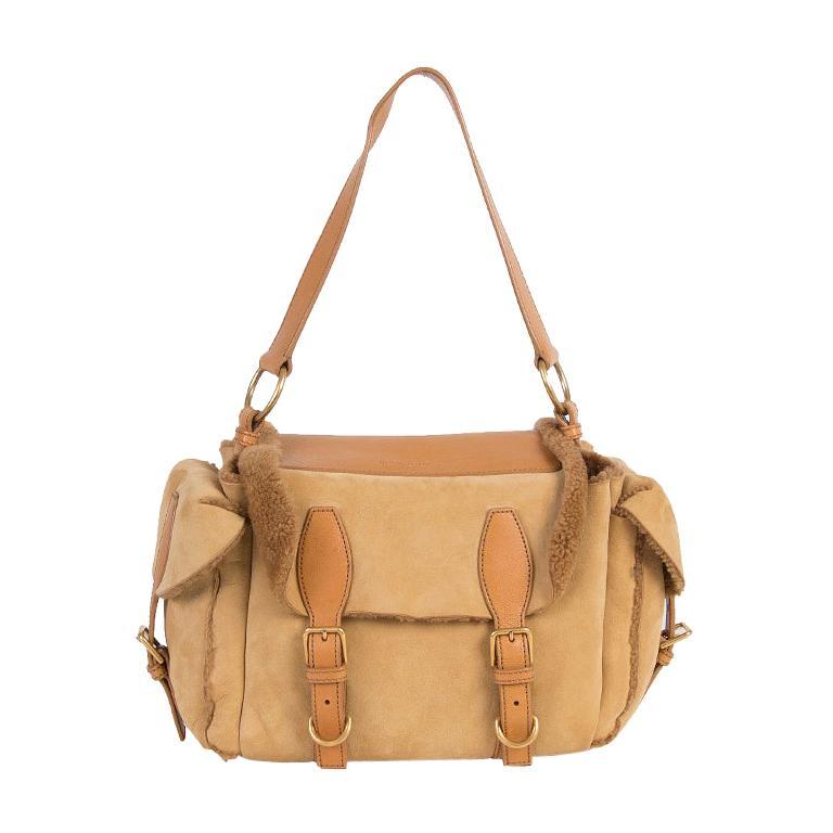 YVES SAINT LAURENT beige SHEARLING Shoulder Bag