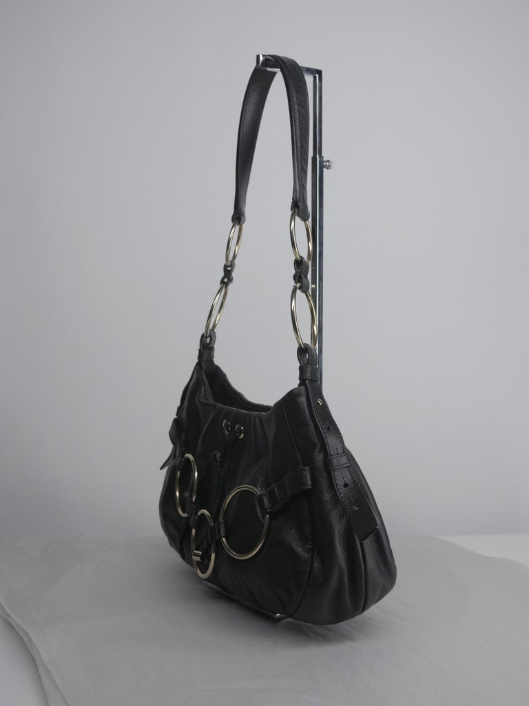 Yves Saint Laurent Black and Gold Hardware Shoulder Bag For Sale 3