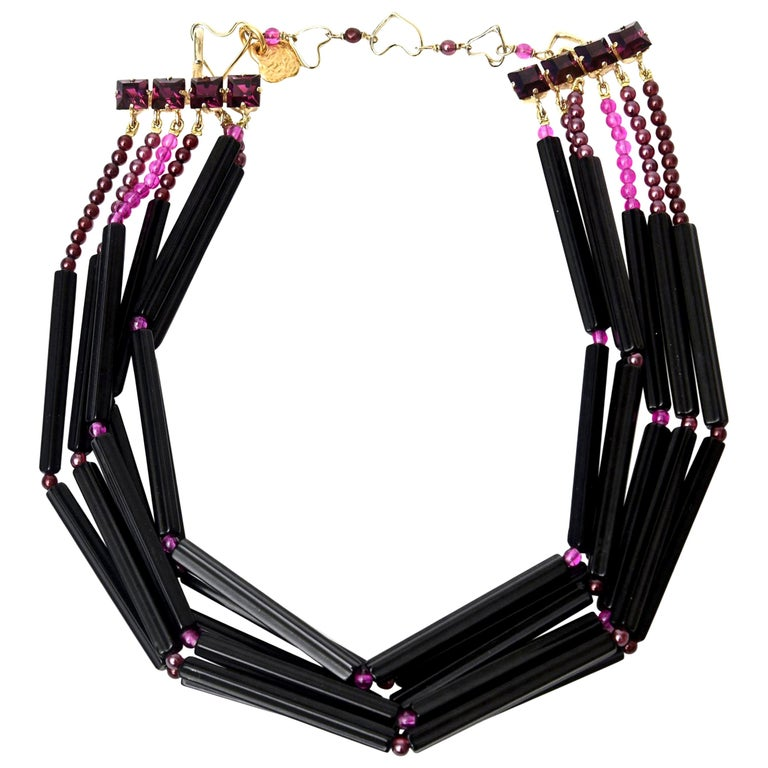 Yves Saint Laurent Black and Purple Glass 6 Strand Rare Necklace Vintage For Sale