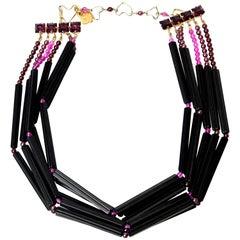 Yves Saint Laurent Black and Purple Glass 6 Strand Rare Necklace Vintage