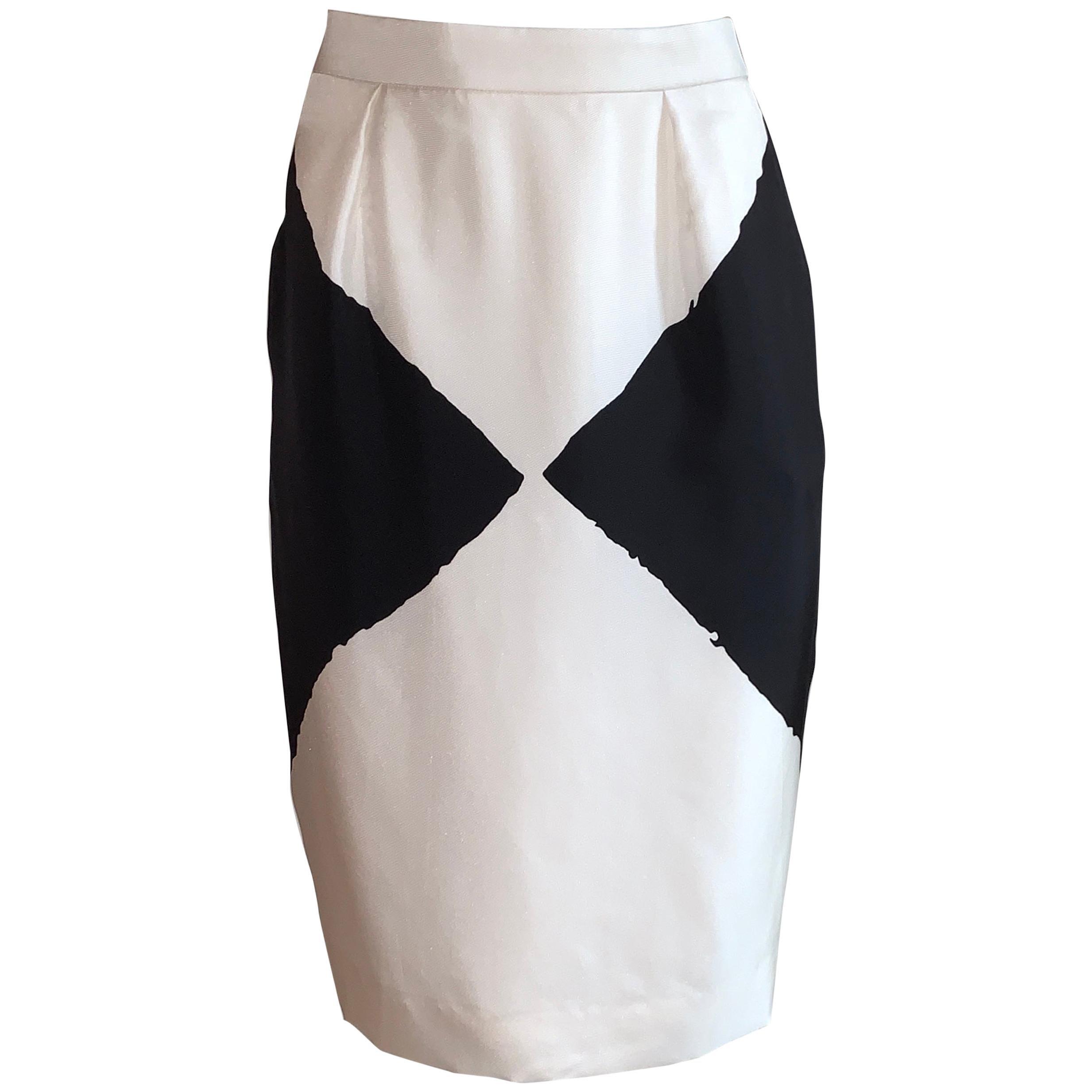Yves Saint Laurent Black and White Geometric Print Silk Pencil Skirt YSL
