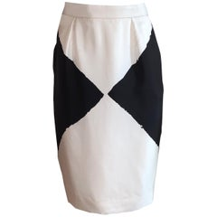 Yves Saint Laurent Black and White Geometric Print Silk Pencil Skirt YSL
