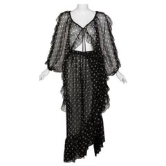 Yves Saint Laurent Black Beige Polka Dot Ruffle Jacket Top Skirt Set YSL 1980s