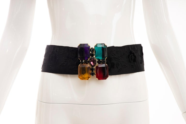 Yves Saint Laurent Black Brocade Jeweled Buckle Evening Belt, Circa: 1980's For Sale 6