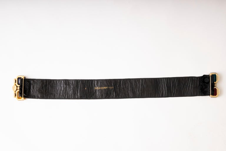 Yves Saint Laurent Black Brocade Jeweled Buckle Evening Belt, Circa: 1980's In Good Condition For Sale In Cincinnati, OH