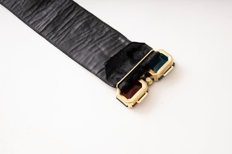 Women's Yves Saint Laurent Black Brocade Jeweled Buckle Evening Belt, Circa: 1980's For Sale