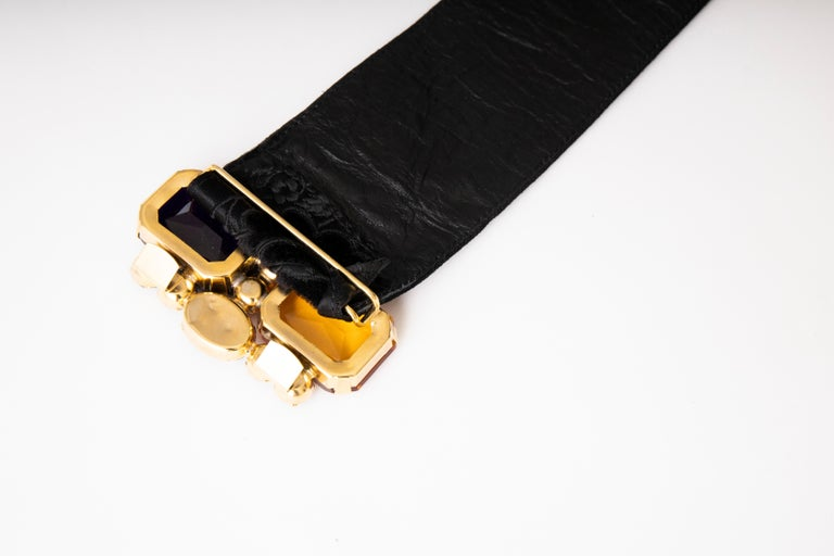 Yves Saint Laurent Black Brocade Jeweled Buckle Evening Belt, Circa: 1980's For Sale 1