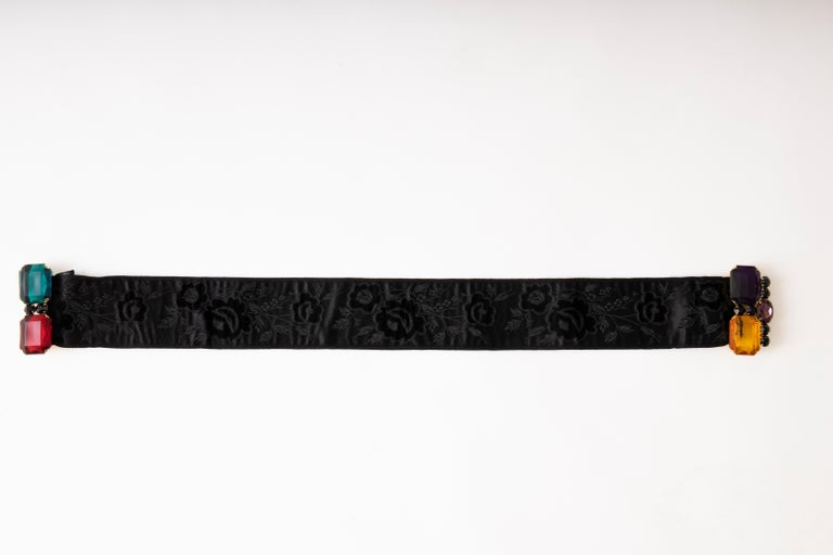 Yves Saint Laurent Black Brocade Jeweled Buckle Evening Belt, Circa: 1980's For Sale 2