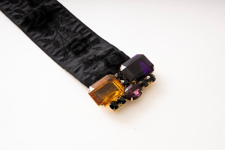 Yves Saint Laurent Black Brocade Jeweled Buckle Evening Belt, Circa: 1980's For Sale 3