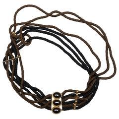 Yves Saint Laurent Black & Brown Embellished Cord Belt