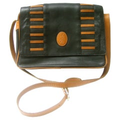 Yves Saint Laurent Paris Black & Brown Leather Shoulder Bag c 1980s