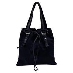 Yves Saint Laurent Black Canvas Logo Kahala Tote Shopping Bag