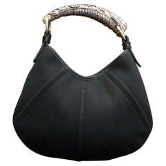 YVES SAINT LAURENT Black Canvas Mini Mombasa Handbag