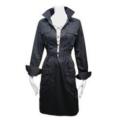 Yves Saint Laurent Black Cotton Safari Dress