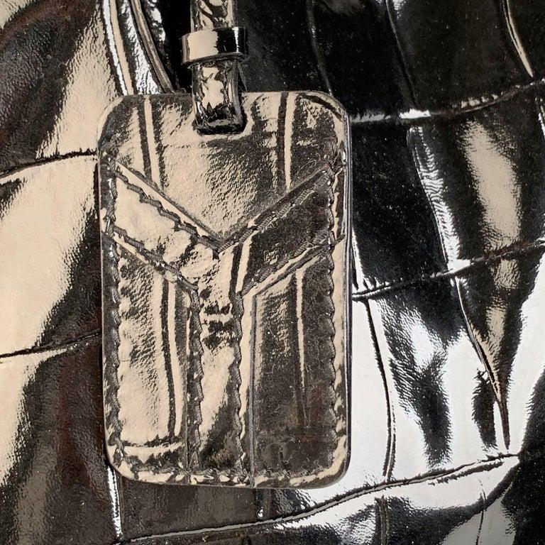 Yves Saint Laurent Black Croc Embossed Patent Leather Raspail Bag For Sale 1