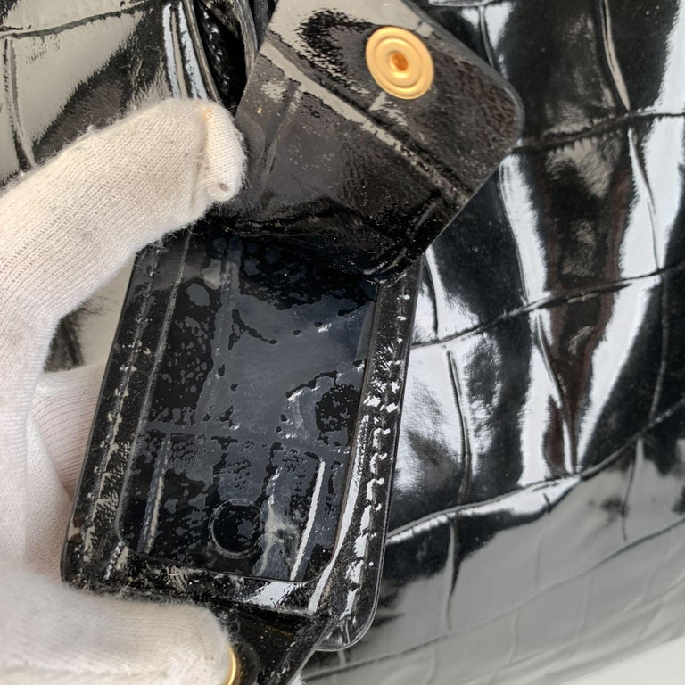 Yves Saint Laurent Black Croc Embossed Patent Leather Raspail Bag For Sale 2