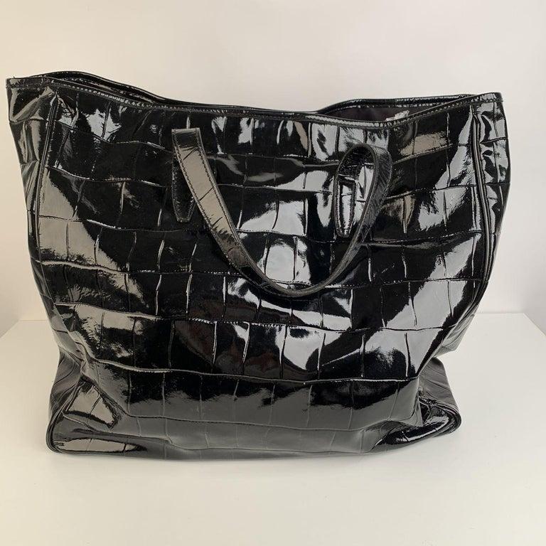 Yves Saint Laurent Black Croc Embossed Patent Leather Raspail Bag For Sale 3