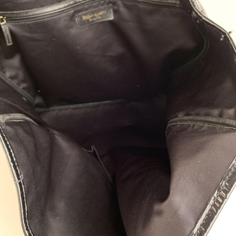 Yves Saint Laurent Black Croc Embossed Patent Leather Raspail Bag For Sale 4