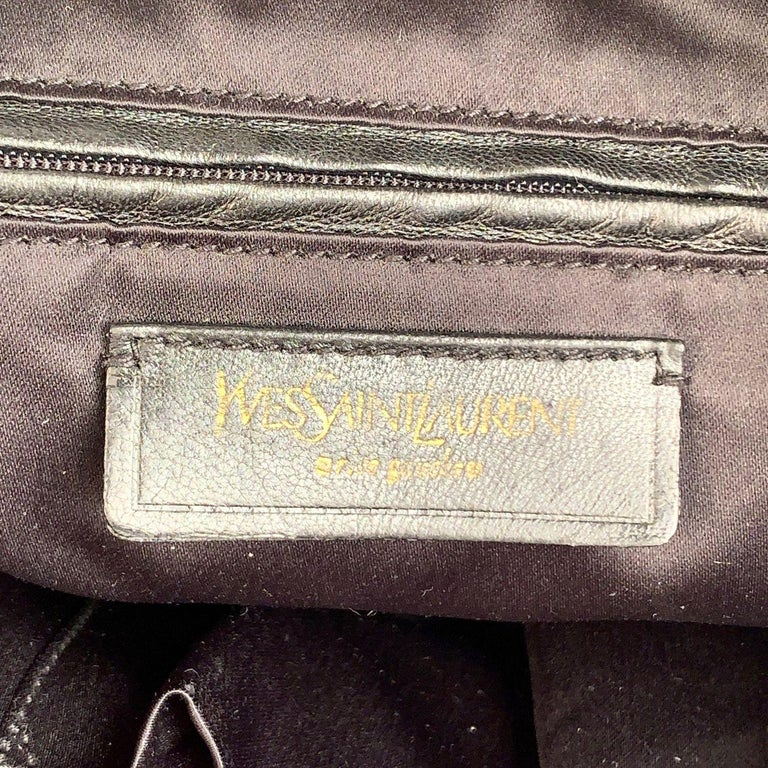 Yves Saint Laurent Black Croc Embossed Patent Leather Raspail Bag For Sale 5