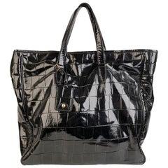 Yves Saint Laurent Black Croc Embossed Patent Leather Raspail Bag