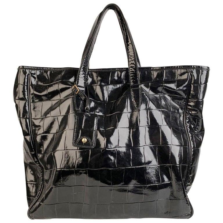 Yves Saint Laurent Black Croc Embossed Patent Leather Raspail Bag For Sale