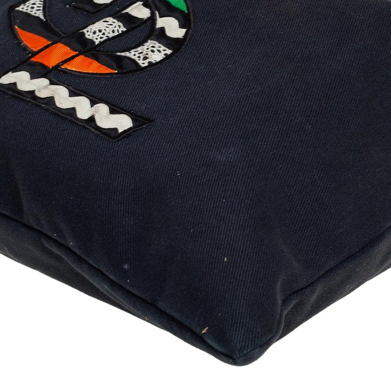 Yves Saint Laurent Black Fabric Kahala Drawstring Tote For Sale 3