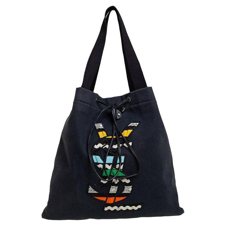 Yves Saint Laurent Black Fabric Kahala Drawstring Tote For Sale