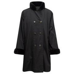 Yves Saint Laurent Black Fur-Trimmed Coat