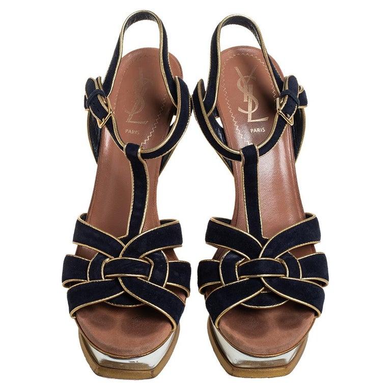 Yves Saint Laurent Black/Gold Suede Leather Platform Ankle Strap Sandals 37.5 In Good Condition For Sale In Dubai, Al Qouz 2