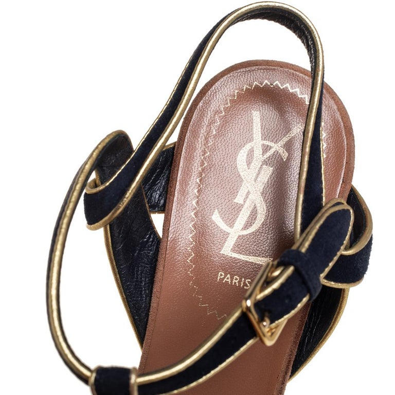 Women's Yves Saint Laurent Black/Gold Suede Leather Platform Ankle Strap Sandals 37.5 For Sale