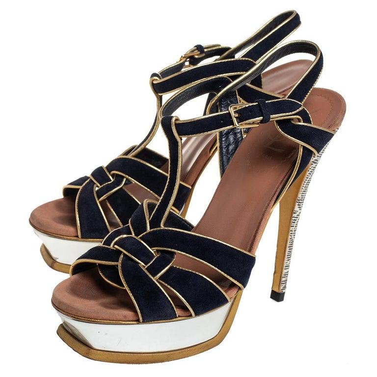 Yves Saint Laurent Black/Gold Suede Leather Platform Ankle Strap Sandals 37.5 For Sale 3