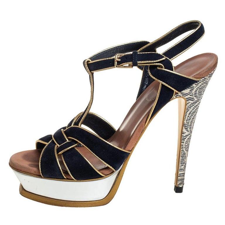 Yves Saint Laurent Black/Gold Suede Leather Platform Ankle Strap Sandals 37.5 For Sale