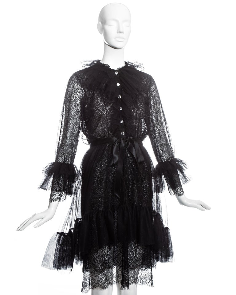 Yves Saint Laurent black lace and tulle crystal cocktail dress, fw 1993 In Excellent Condition For Sale In London, GB
