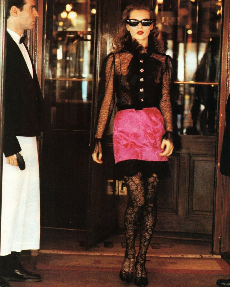 Women's Yves Saint Laurent black lace and tulle crystal cocktail dress, fw 1993 For Sale
