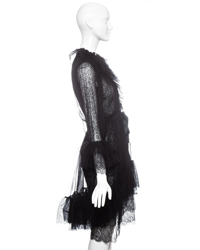 Yves Saint Laurent black lace and tulle crystal cocktail dress, fw 1993 For Sale 1
