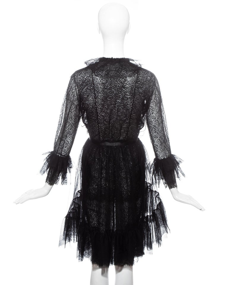 Yves Saint Laurent black lace and tulle crystal cocktail dress, fw 1993 For Sale 2
