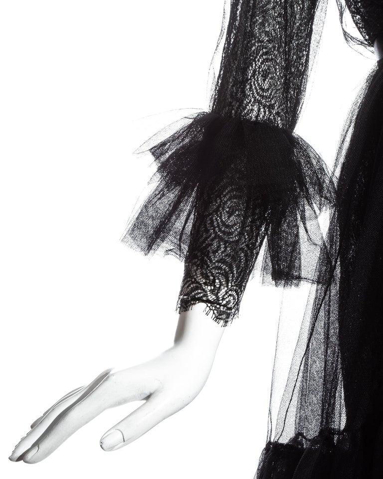 Yves Saint Laurent black lace and tulle crystal cocktail dress, fw 1993 For Sale 3