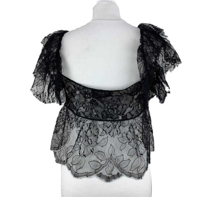Yves Saint Laurent Black Lace Sheer Top with Frills Size M In Good Condition For Sale In Rome, Rome