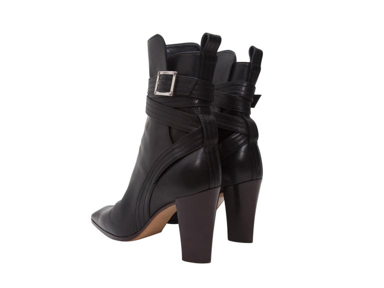 Yves Saint Laurent Black Leather Ankle Boots In Good Condition For Sale In New York, NY