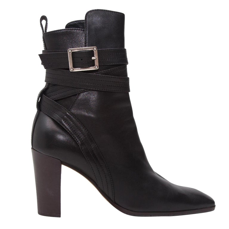 Yves Saint Laurent Black Leather Ankle Boots For Sale