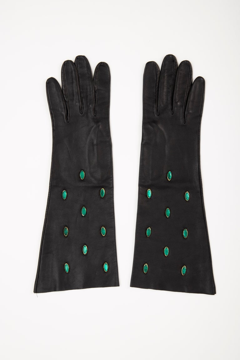 Yves Saint Laurent Black Leather & Appliquéd Green Glass Gloves, Circa: 1980's In Good Condition For Sale In Cincinnati, OH